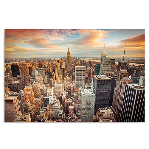 Feeby frames quadro pannelli, pannello singolo, quadro su tela, stampa artistica, canvas 80x120 cm, new york, tramonto, arancione, azzurro, bianco