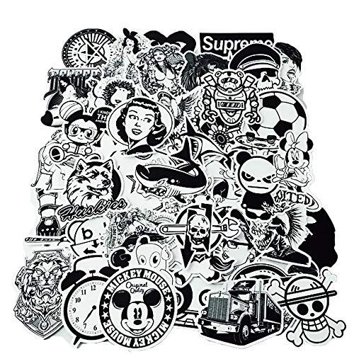 YGSAT 100Pcs Aufkleber Pack|Graffiti Sticker|Vinyl Aufkleber|Vinyl Stickers|Schwarz Weiß Graffiti Decals für Notebook Skateboard Snowboard Gepäck Koffer MacBook Auto Fahrrad Stoßstange -