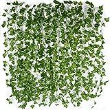 AONER (12pcs x 2m) Hiedra Hojas de Vid Artificial Guirnalda Plantas Decoración Verde Follaje de Seda Hogar Jardín Valla Boda Fiesta Ventana Escalera Exterior