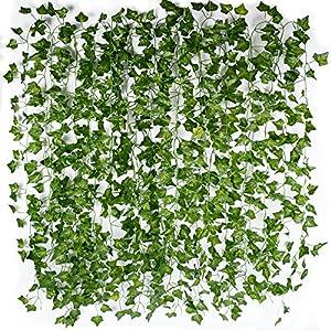 (12pcs x 2m) Hiedra Hojas de Vid Artificial Guirnalda Plantas Decoración Verde Follaje de Seda Hogar Jardín Valla Boda…