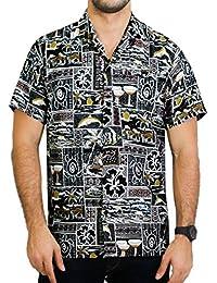La Leela casual likre doux et lisse hommes tropical hawaïen camp de poche chemise noire