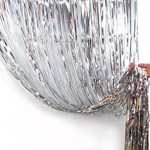 Anyasen Lametta Silber Lametta vorhänge girlanden Silber Lametta Folie Fringe Vorhänge Metallfolie Fringe Hintergrund für Geburtstag Hochzeit Dekorationen (Silber)