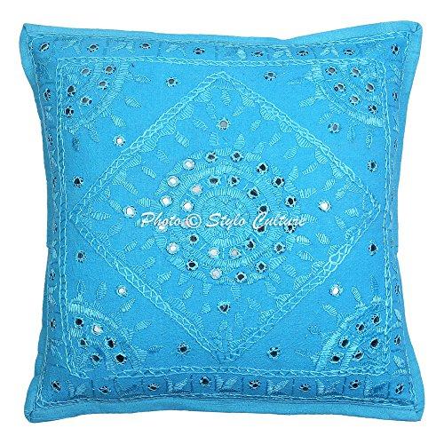 Stylo Culture Indio Mirror bordado algodón Arrojar la almohada Cubrir turquesa 16x16...