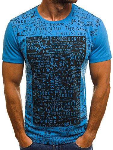 OZONEE Herren T-Shirt T Shirt Tshirt Kurzarm Kurzarmshirt Tee Top Sport Sportswear Rundhals U-Neck Rundhalsausschnitt Aufdruck Motiv Print O/1173 BLAU L