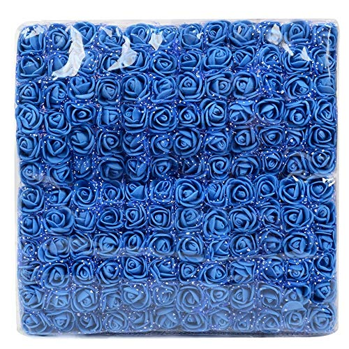 LABAICAI 144 stücke 2 cm Mini Schaum Rose Künstliche Blumenstrauß Hochzeit Blumendekoration Scrapbooking DIY Kranz Günstige Gefälschte Rose Blumen (Color : Royal Blue) (Gefälschte Blue Blumen Royal)