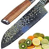 RUKA Cuchillo Santoku de acero de 19 cm de Damasco, efecto martillo, afilado con cuchillos de acero japonés VG-10 de 67 capas, cuchillo Santoku de damasco con mango ergonómico