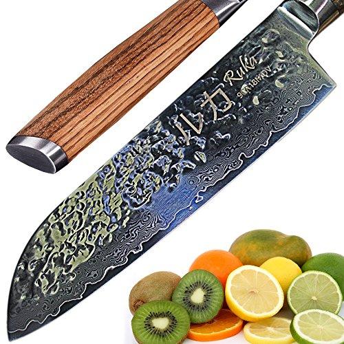 RUKA Cuchillo Santoku de acero de 19 cm de Damasco, efecto martillo, a