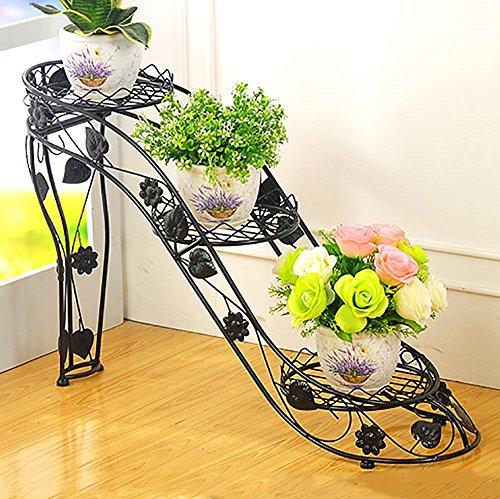 LLLXUHA Art de Fer Métal Multi-Couche Support de Fleurs, Chaussures à Talons Hauts Au Sol Présentoir, intérieur De Plein air Multifonction Planter des Fleurs Pot de Fleurs, Black, 66 * 25 * 54cm