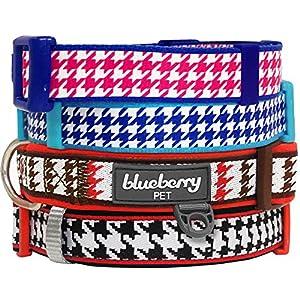Blueberry Pet Collier Motif Iconique Pied-de-Poule Ultra Doux Néoprène rembourré, Collier de Chien