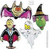 4er-Set: Aufblasbare NEON-DEKO mit * GESPENST + HEXE + FLEDERMAUS + VAMPIR * für Halloween, Karneval oder Mottoparty // 78cm groß // Geburtstag Kindergeburtstag aufblasbar inflatable