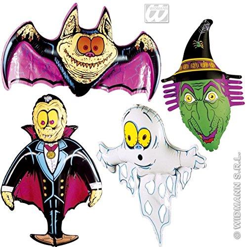 4er-Set: Aufblasbare NEON-DEKO mit * GESPENST + HEXE + FLEDERMAUS + VAMPIR * für Halloween, Karneval oder Mottoparty // 78cm groß // Geburtstag Kindergeburtstag aufblasbar (Für Halloween Inflatables)