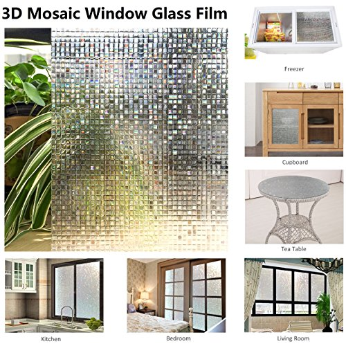 "Resuable Decoration Window Film,3D Mosaic Pattern,No Adhesives Vacuum Adsorption,Anti-UV,Privacy Glass Decoration Film 11.8""x78.7"""
