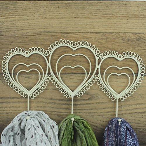 Coeur Patère Mural Crochets Cuisine Salle de bain Chambre Style shabby chic vintage Crème