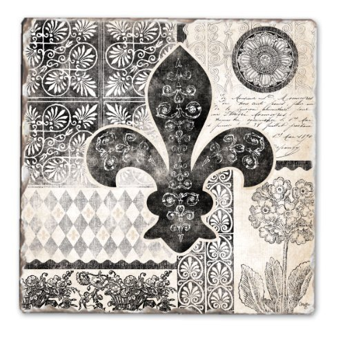 CounterArt Cherish Fleur de Lis Tumbled Tile Coasters, Set of 4 by CounterArt - De Fleur Coaster Set Lis