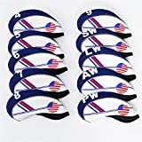 Ocamo 10Pcs White & Blue USA Flag Abrasion Resistant Durable Golf Club Iron Head Covers Protector Set With Numbers