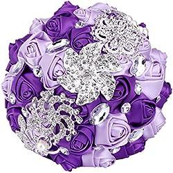 Ramo Novia Artificial - Con brillantes -tonos lilas y morados