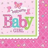 Amscan 51145833cm Welcome Baby Girl Servietten