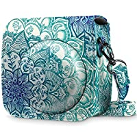 Fintie Protective Case for Fujifilm Instax Mini 8 Mini 8 Mini 9 Instant Camera - Premium Vegan Leather Bag Cover with Removable Strap, Emerald Illusions