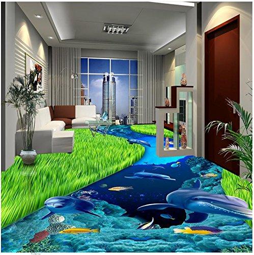Foto de Lqwx Pintura de piso moderno mundo submarino delfín azul coral peces tropicales oceánicos pintura piso PVC adhesivos murales-400cmX280cm
