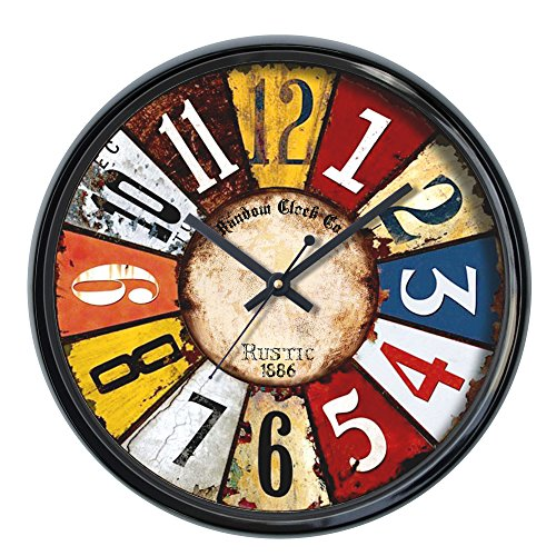 Random Colors Round Plastic Wall Clock (30 cm x 30 cm x 5 cm, Black)