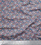 Soimoi Blau Kunstseide Stoff dot & Blätter Paisley Stoff Meterware 56 Zoll breit