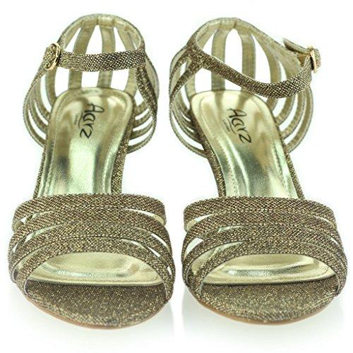 Femmes Dames à lanières Pétillant Briller Talon Moyen Soirée Mariage Bal de Promo Sandale Chaussures Taille Marron