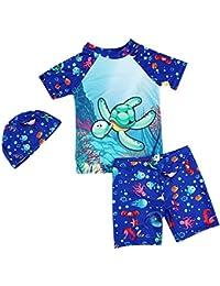 Child Boy 3 Piezas Swim Suit Chaleco de Manga Corta Protección Solar Traje de baño Cartoon Print Boy
