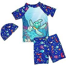 30a89d80a Niños Traje de baño Buceo Surf Manga Corta Camiseta + Swim Shorts + Gorra  de Ducha