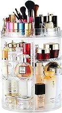 Organizzatore di trucco, espositore cosmetico girevole da 360 gradi, organizer per vanità regolabili Scaffale da bagno organizer cosmetico da bancone, contenitore cosmetico trasparente, cristallino