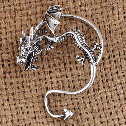 Retro drago dell'orecchio del polsino, drago orecchino del polsino per le donne