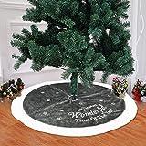 BulzEU Plüsch-Weihnachtsbaumrock weiß und grau – Weihnachtsbaum-Abdeckung mit Besticktem Stern – Weihnachtsbäume, Dekoration, Dekoration für drinnen und draußen, 94 cm