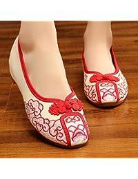 GHKLGY Gestickte Schuhe, Sehnensohle, ethnischer Stil, weiblicher Flip Flop, Mode, bequem, Sandalen , blue , 39