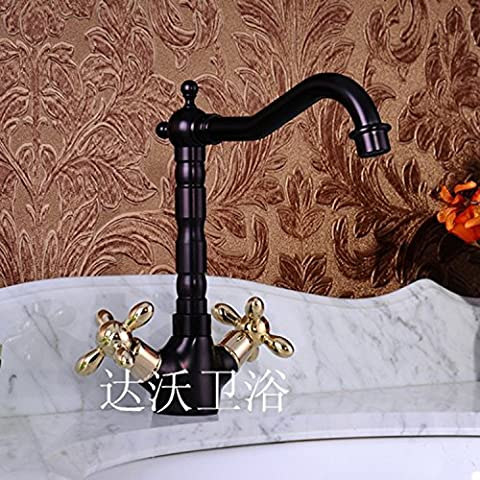 Furesnts Modern home kitchen and Bathroom Sink Taps Tap continental antique dragon design carved single cold tap all copper thick Basin Mixer Bathroom Sink Taps,(Standard G 1/2 universal hose
