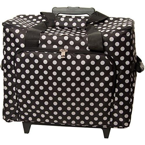 Sewing Machine Nähmaschinen-Trolley, schwarz-weiß im Polka Dots Design -- Gepolstert -- Teleskopstange -- Strapazierfähiger Nähmaschinen-Koffer gepunktet mit Rollen (Overlock-trolley)