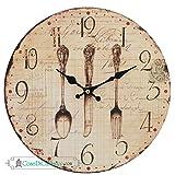 6KL0083 Clayre & Eef - Orologio da parete - Cucchiaio, forchetta, coltello ca. Ø 29 cm