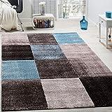 Paco Home Designer Teppich Karo Muster Wohnzimmer Teppich Hochwertig In Türkis Grau Blau, Grösse:160x230 cm