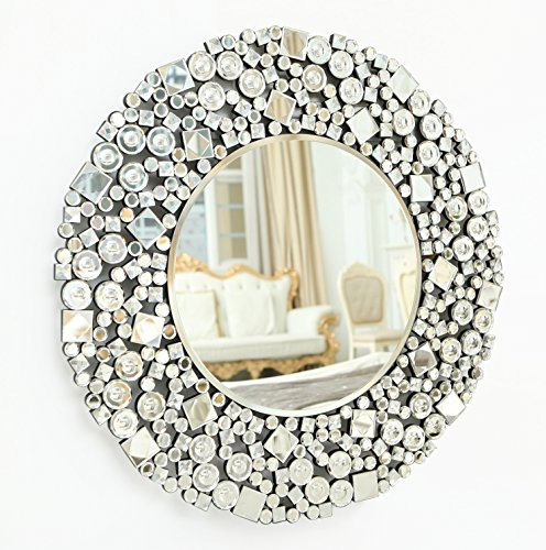RICHTOP Wall Mirror - Round Crystal Jewel Mosaic Wall Mounted Mirror for Living Room, Dining Room, Bedroom, Dressing Table (70cm x70cm)