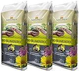 Floragard Kleeschulte Bio Blumenerde torffrei 3x20 L •100% nachwachsende Rohstoffe • Bio-Qualität • 65% Klimavorteil • 60 L