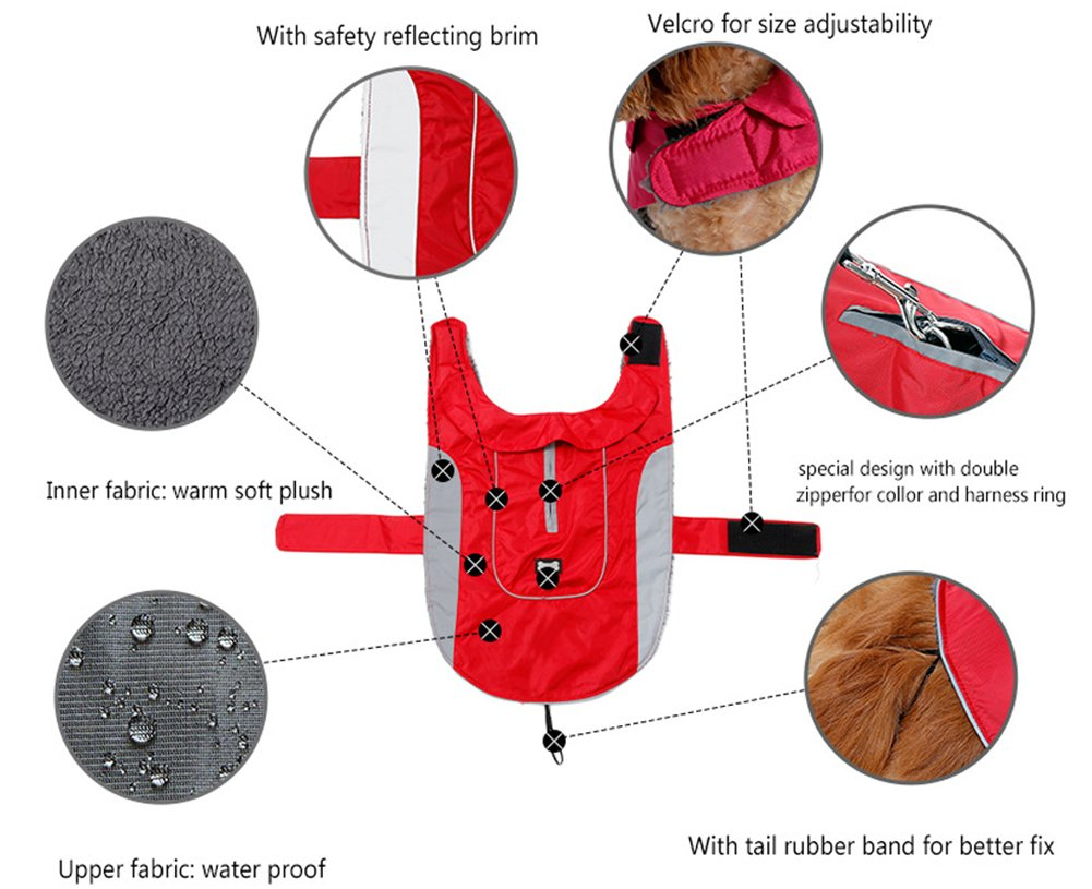 Morezi Premium Outdoor Sport Waterproof Dog Jacket Winter Warm Large Dog Coat with Harness Hole Red 3
