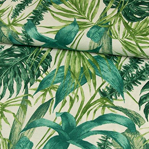 Stoffe Werning Dekostoff Blätter grün Canvasstoff Dekorationen - Preis Gilt für 0,5 Meter - - Baumwoll-canvas Stoff