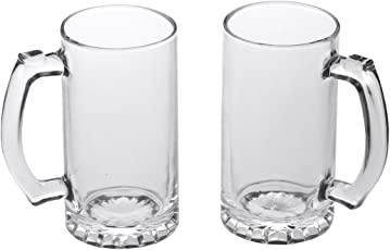 Somil Beer Mug Glass Set New Look Attractive Design and Transparent with Handle (Set of 2) Multipurpose Usable