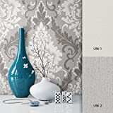 NEWROOM Barocktapete Grau Vliestapete Deco Muster Barok schöne moderne und edle Design Optik , inklusive Tapezier Ratgeber