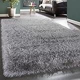 Shaggy Hochflor Teppich Modern Soft Garn Mit Glitzer In Uni Hellgrau Grau, Grösse:160x230 cm