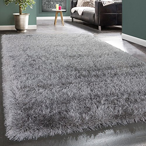 Shaggy Hochflor Teppich Modern Soft Garn Mit Glitzer In Uni Hellgrau Grau, Grösse:160x230 cm (Haut-teppich)