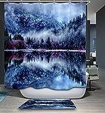 kisy Wasserdicht Schimmelresistent Dusche Badewanne Vorhang Winter Frozen Misty Wälder Polyester Duschvorhang (180cm × 180cm)
