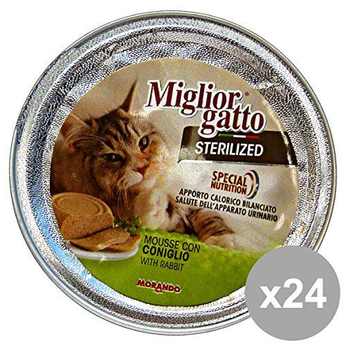 Conjunto de 24 mejor gato esterilizado 85 Gr. Mousse de comida para ga