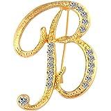 Tooky, spilla con strass in oro con iniziali, 26 lettere dalla A alla Z