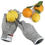 Guanti anti-taglio, paio di 2 guanti da lavoro con protezione di livello 5. Semplicemente la migliore protezione contro i tagli quotidiani (cucina, giardinaggio, fai-da-te). Touchscreen