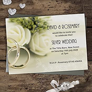 Silver wedding invitations 25th anniversaryse 6 cards with silver wedding anniversary invitations 25th silver rings design s6l personalised with free silver envelopes please email wording before ordering see stopboris Images