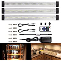 LEBRIGHT Under Cabinet Lighting 12-inch Dimmable LED Under Cabinet Light Ultra Thin Under Counter Lighting with Remote Control , 3pcs 4W Panels kit, Total of 12W,1100LM,LED Closet Lighting(3000K Warm White)